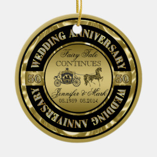 50th Wedding Anniversary-Wedding Horse & Carriage Round Ceramic Ornament