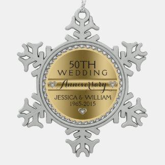 50th Wedding Anniversary White Diamonds & Silver Pewter Snowflake Ornament