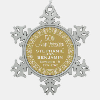 50th Wedding Anniversary with Bride & Groom Names Pewter Snowflake Ornament