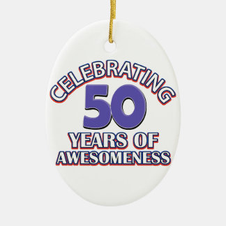 50th year birthday designs ceramic ornament