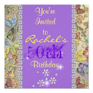 50TH YELLOW & LAVENDER WOMEN'S Birthday Invitation