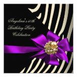 """50th Zebra Purple Gold Cream Black Birthday Party 5.25"""" Square Invitation Card"""