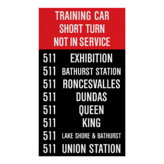 511 BATHURST Replica TTC Streetcar Rollsign Print
