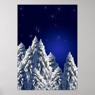 519662 WINTER NIGHT SCENE SNOW TREES STARS SCENIC PRINT