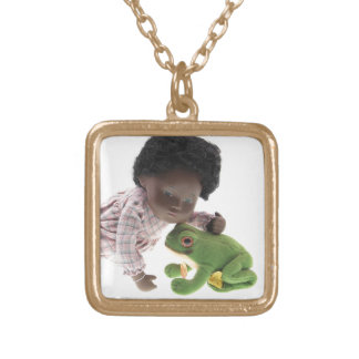 519 Sasha Cara Black baby supporter Gold Plated Necklace