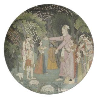 51.207/28 Nanda asking Radha to escort Krishna hom Party Plates