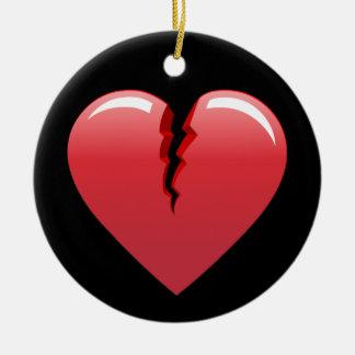 51 CORAL BROKEN HEART LOVE LOST PAST SAD BLACK BAC ROUND CERAMIC ORNAMENT