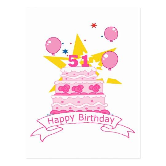 51 Year Old Birthday Cake Postcard