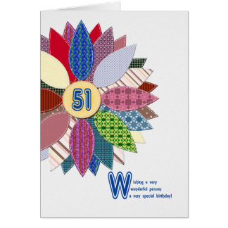 51 years old, stitched flower birthday card