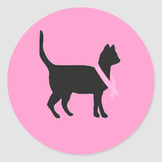 51b88 black cat pink ribbon breast cancer causes classic round sticker