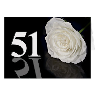 51st Birthday Card with a classic white rose