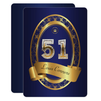 51st,birthday party woman man,elegant color card