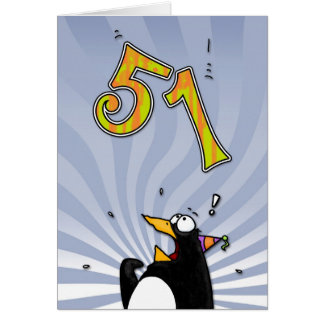 51st Birthday - Penguin Surprise Card