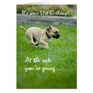 51st Birthday Puppy Running Card