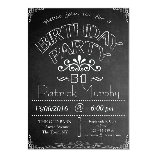 51st Chalkboard Birthday Celebration Invitation