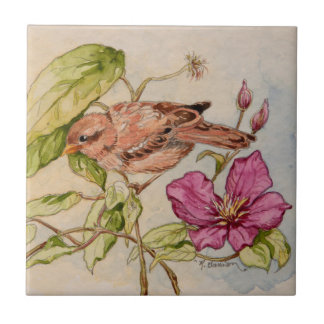 5298 Sparrow on Clematis Tile
