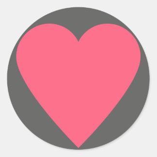 52-card deck Heart Round Sticker