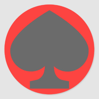 52-card deck Spades Classic Round Sticker