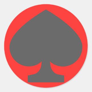 52-card deck Spades Round Sticker