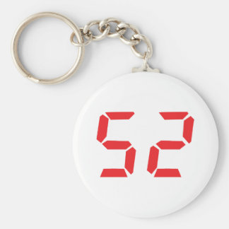 52 fifty-two red alarm clock digital number basic round button keychain