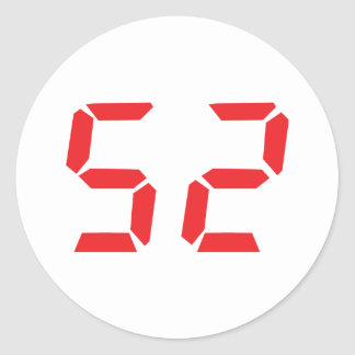 52 fifty-two red alarm clock digital number classic round sticker