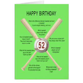 52nd birthday baseball jokes card