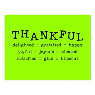 5318__thankful__ THANKFUL DELIGHTED GRATIFIED HAPP Postcard