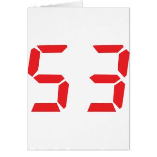53 fifty-three red alarm clock digital number card