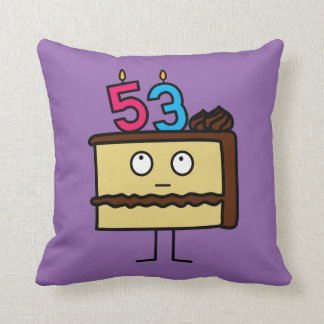 53rd Birthday Cake with Candles Throw Pillow