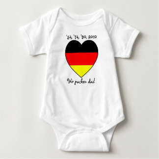 '54, '74, '90, 2010 Babybody with Germany heart Baby Bodysuit