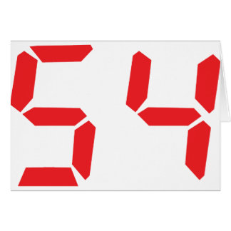 54 fifty-four red alarm clock digital number card