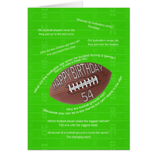 54th birthday, really bad football jokes card