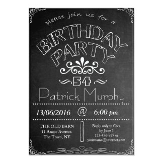 54th Chalkboard Birthday Celebration Invitation