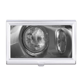55 Chevy Headlight Grayscale Business Card Holder