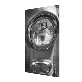 55 Chevy Headlight Grayscale Canvas Print