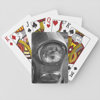 55 Chevy Headlight Grayscale Playing Cards