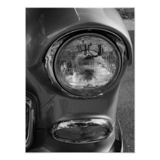 55 Chevy Headlight Grayscale Poster