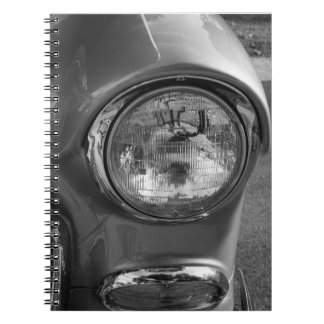 55 Chevy Headlight Grayscale Spiral Note Book