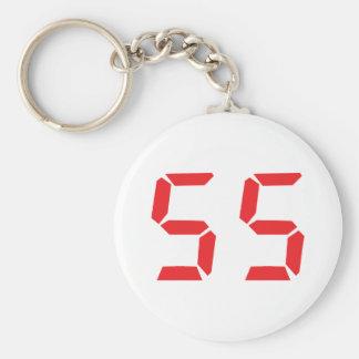 55 fifty-fife red alarm clock digital number keychain