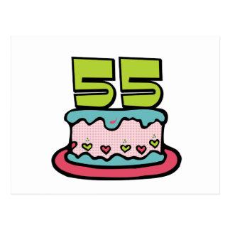 55 Year Old Birthday Cake Postcard