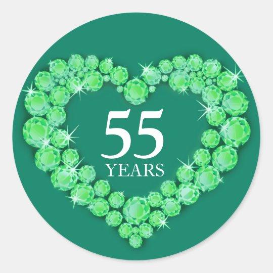 55 years emerald anniversary heart sticker