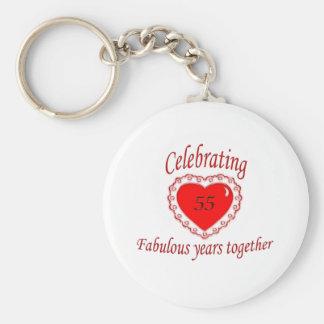 55th. Anniversary Basic Round Button Keychain