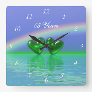 55th Anniversary Emerald Hearts Wallclock