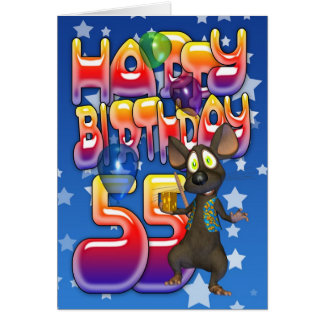 55th Birthday Card cute with little mouse