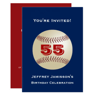 55th Birthday Party Invitation Baseball