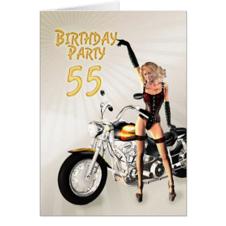 55th Birthday party with a girl and motorbike Card