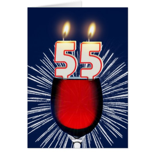 55th Birthday with wine and candles Card