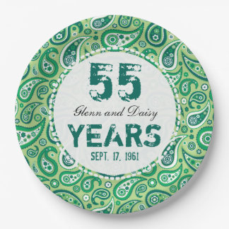 55th Emerald Wedding Anniversary Paisley Pattern 9 Inch Paper Plate