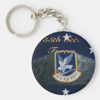 55th Security Forces Basic Round Button Keychain