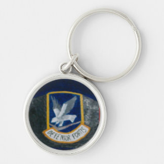 55th Security Forces Silver-Colored Round Keychain